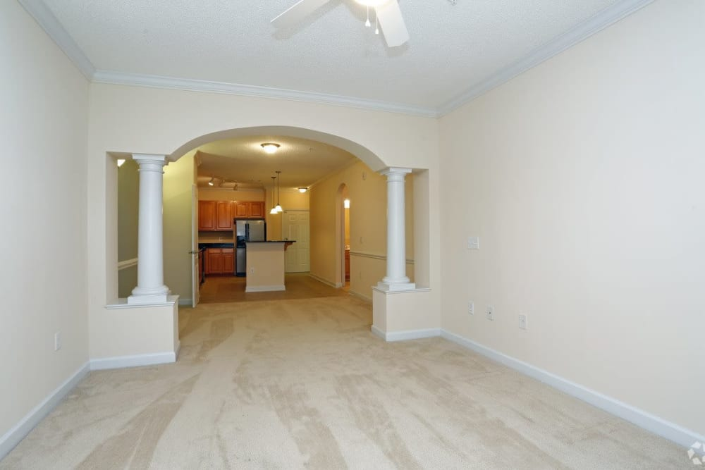 Model living room at Waterford Place in Greenville, North Carolina