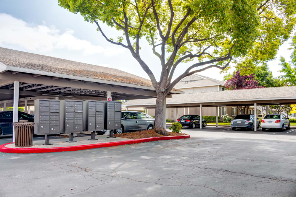 Community mailboxes and covered parking at Sofi Berryessa in San Jose, California