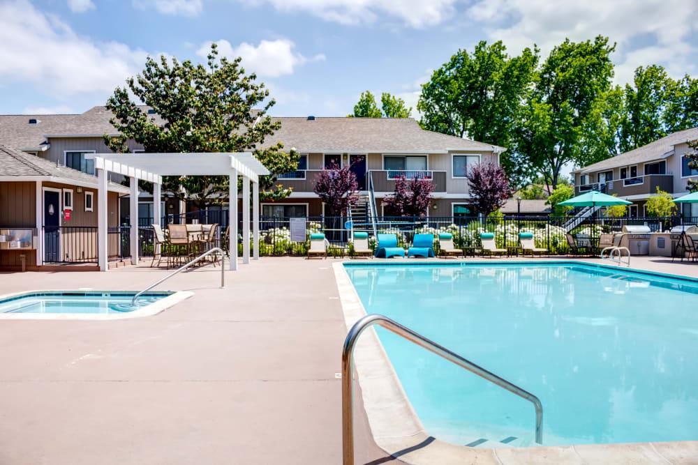 Resort-style swimming pool and spa area at Sofi Berryessa in San Jose, California