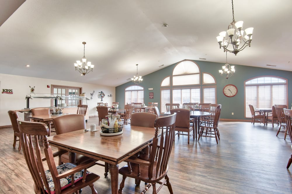 Alternate dining room with hardwood floors at The Villas at St. James in Breese, Illinois