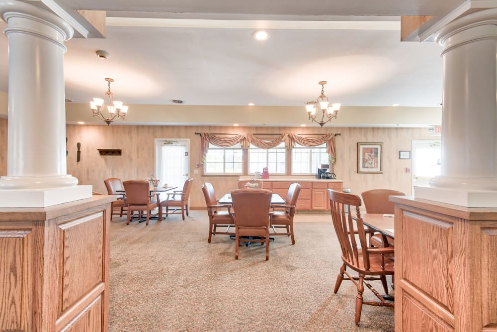 Dining hall at The Villas at St. James in Breese, Illinois