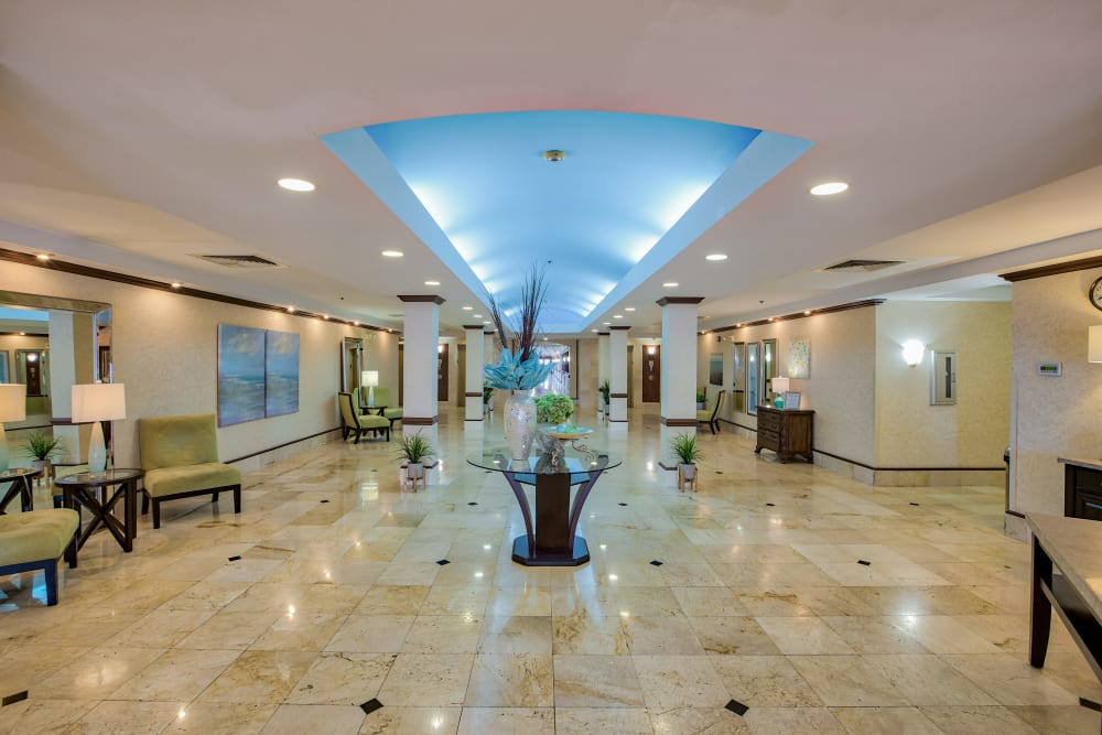 The elegant lobby at The Peninsula in Pembroke Park, Florida