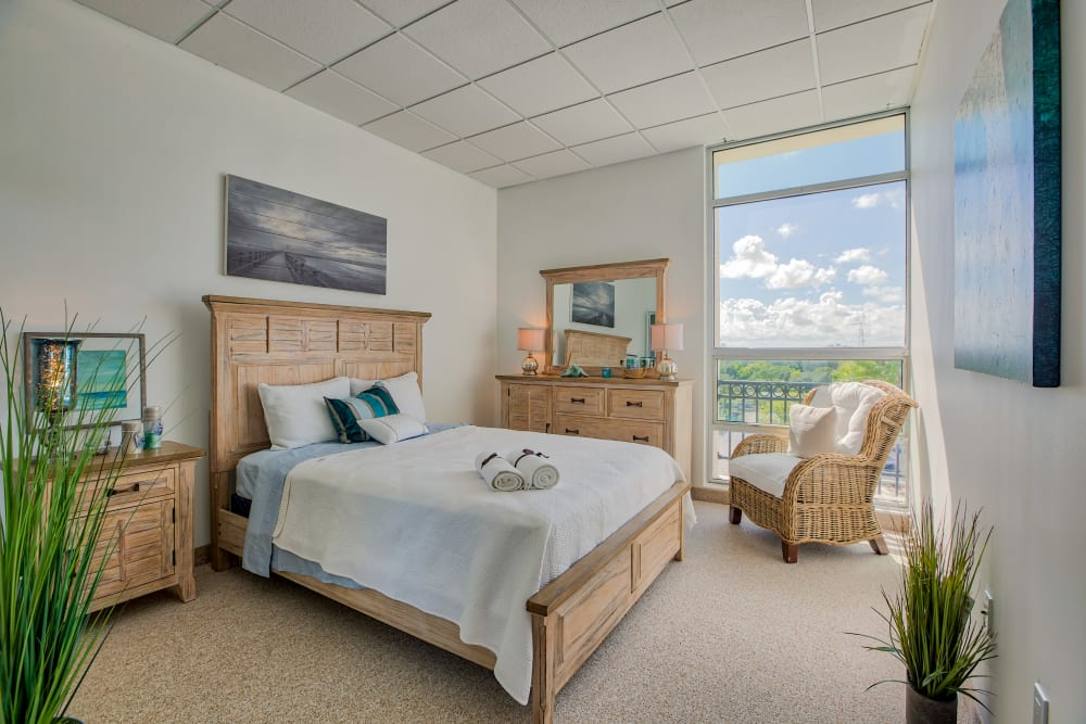 A beautiful view from a spacious bedroom at The Peninsula in Pembroke Park, Florida