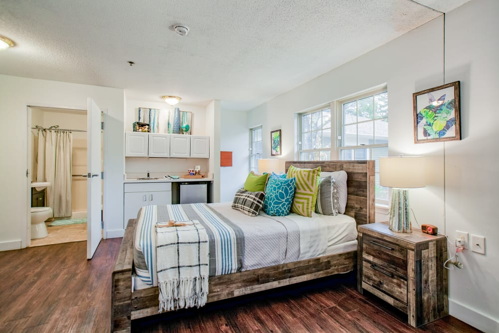 Hardwood-style floors in a bedroom at Wood Haven in Tewksbury, Massachusetts
