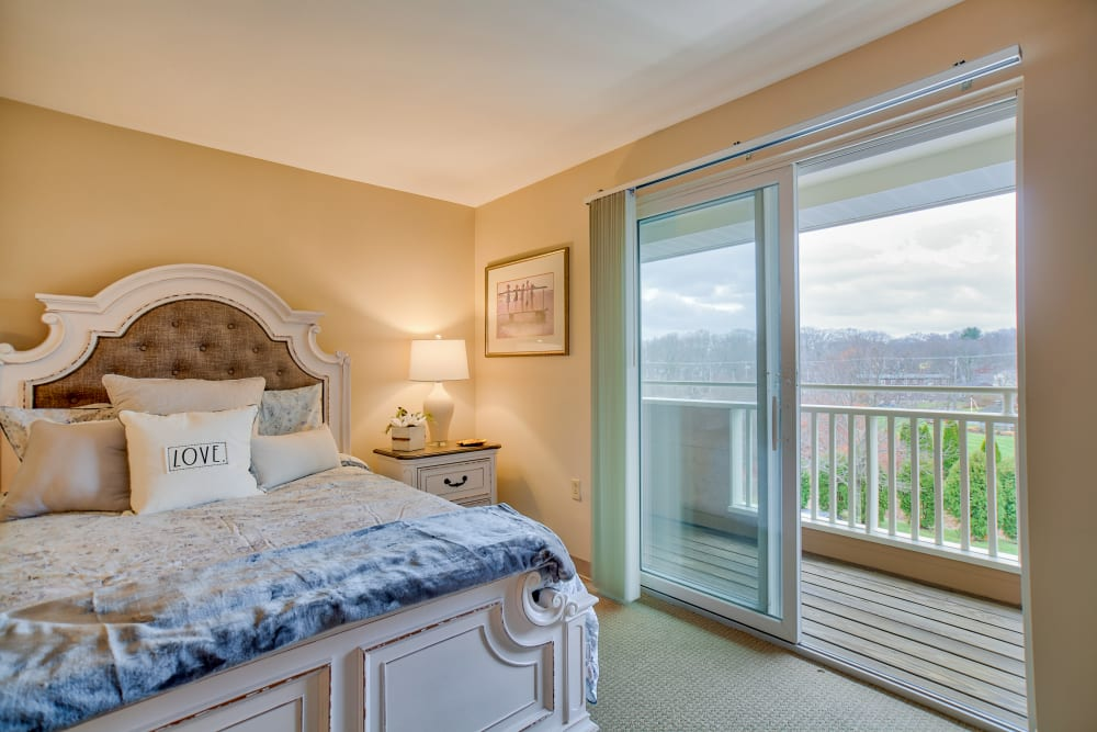 Enjoy waking up to beautiful views from your private patio at Chapel Hill in Cumberland, Rhode Island