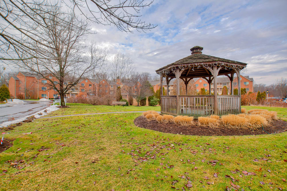A grassy area and a community gazebo at Chapel Hill in Cumberland, Rhode Island