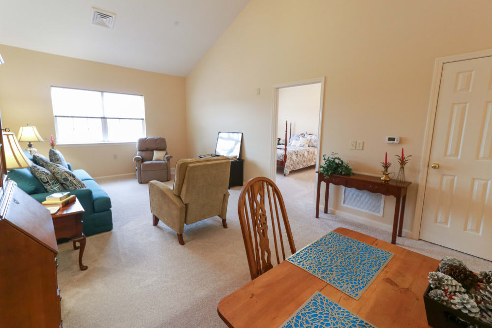 A living room space at The Crossings at Bon Air in Richmond, Virginia