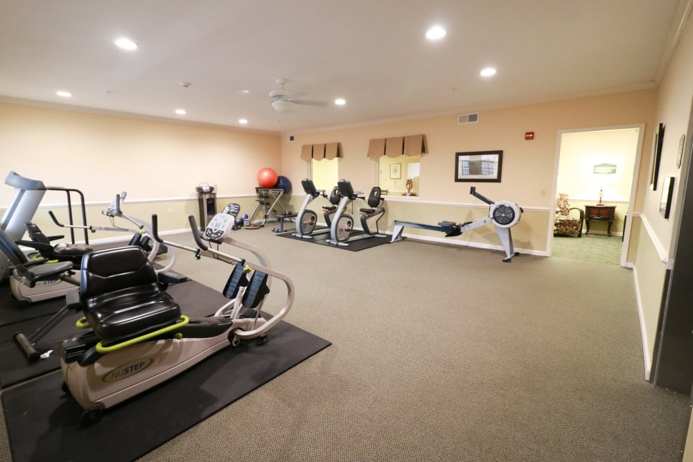 A fitness center with all the necessary fitness equipment at The Crossings at Bon Air in Richmond, Virginia