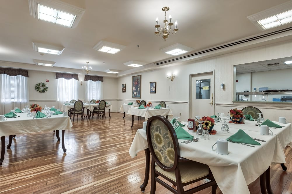 The stylish dining room at Hillhaven in Adelphi, Maryland