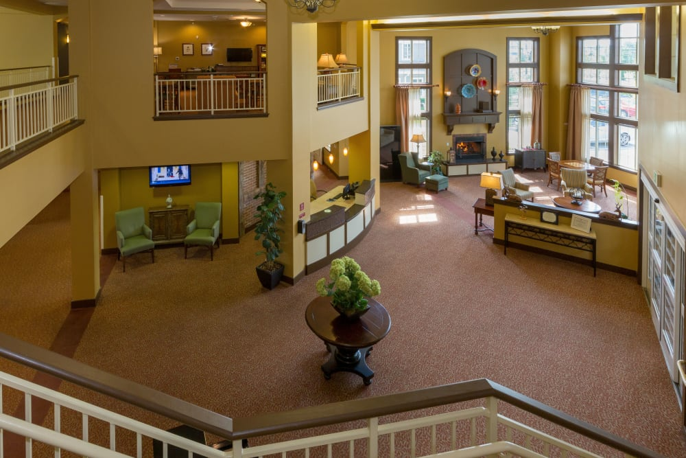 The grand main lobby at The Reserve at East Longmeadow in East Longmeadow, Massachusetts