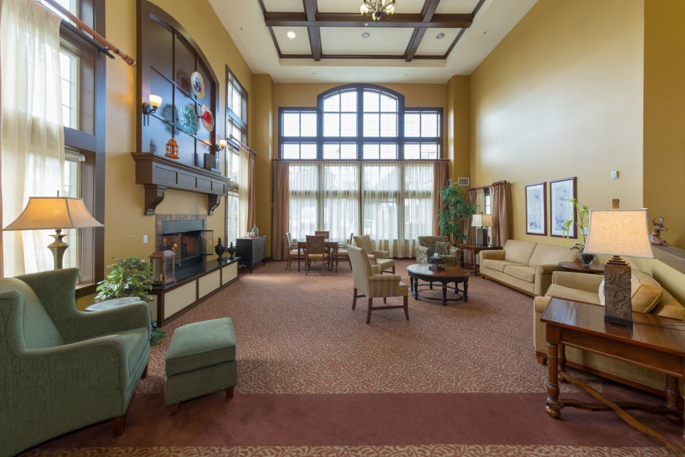 Large windows letting sunlit into the lobby at The Reserve at East Longmeadow in East Longmeadow, Massachusetts