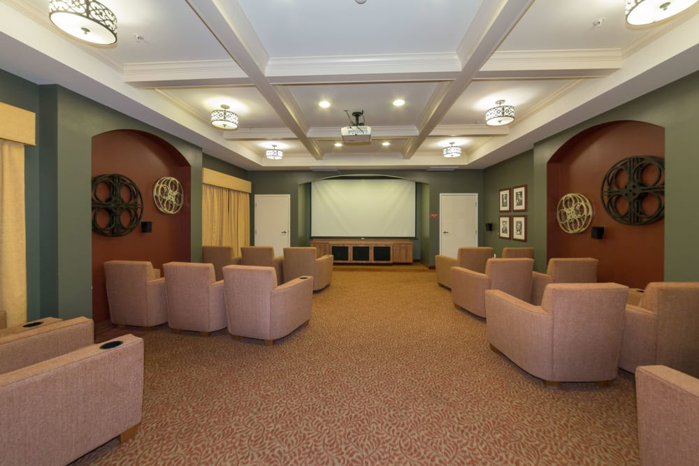 Comfortable chairs in a movie viewing room at The Reserve at East Longmeadow in East Longmeadow, Massachusetts