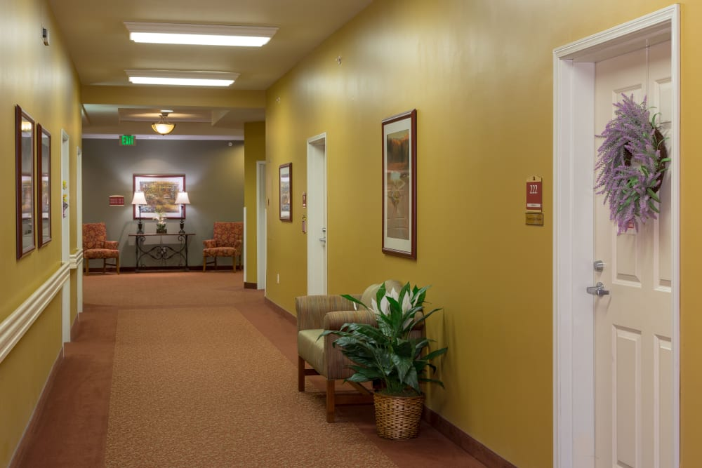 A hallway at The Reserve at East Longmeadow in East Longmeadow, Massachusetts