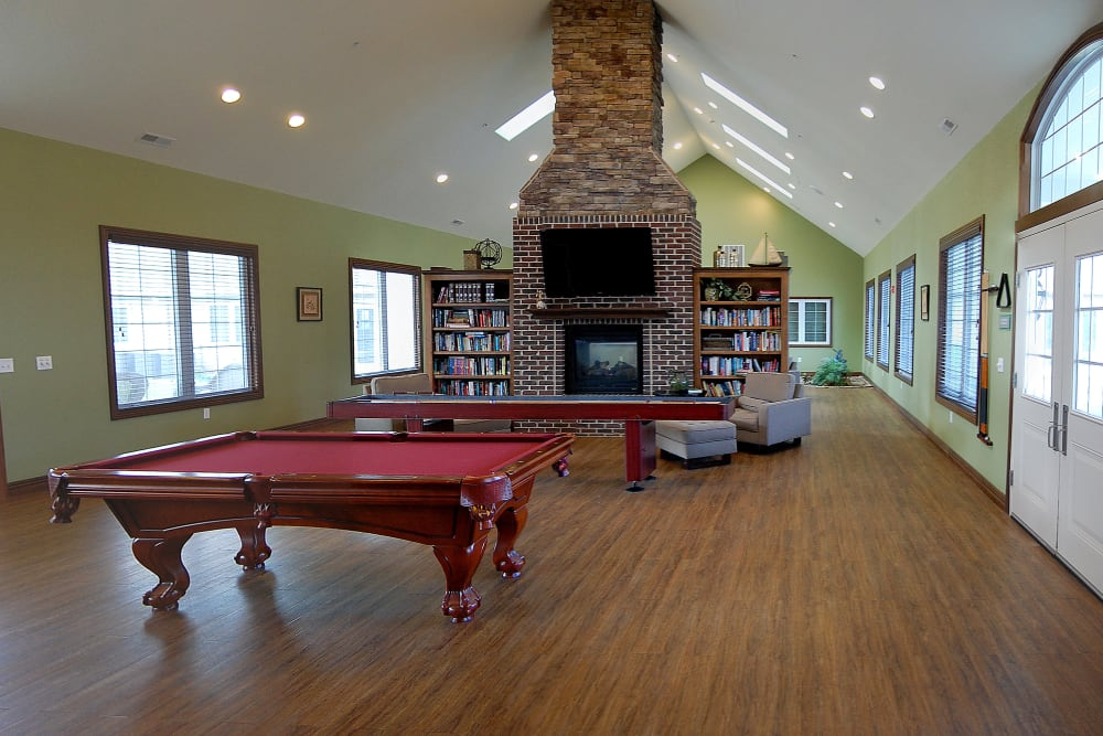 Pool table in the community clubhouse at Villas of Holly Brook Chatham in Chatham, Illinois