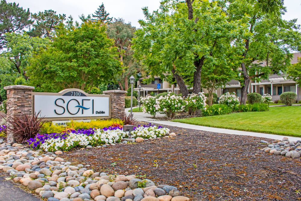 Our monument sign welcoming residents and their guests to Sofi Dublin in Dublin, California