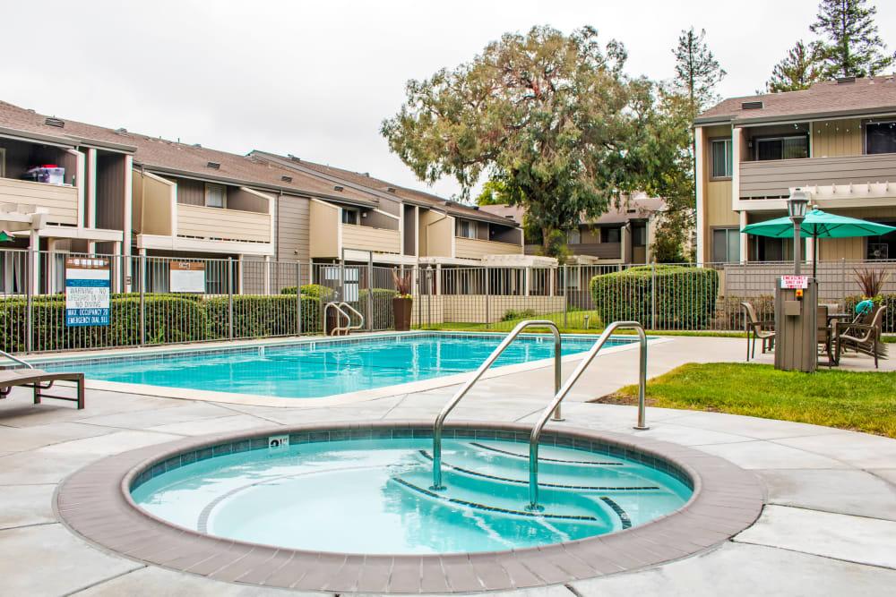 Spa and swimming pool area at Sofi Dublin in Dublin, California