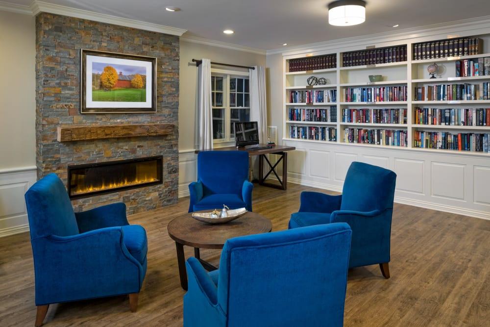 seating area near fireplace