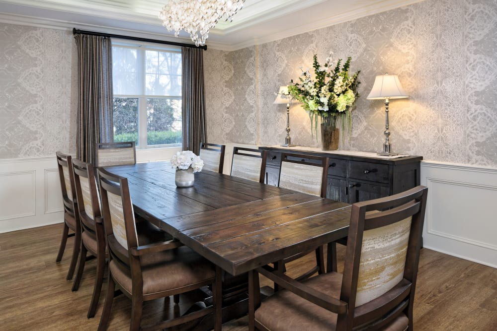large room with table and chairs