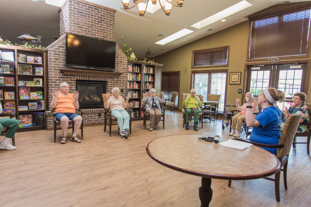 Residents taking an exercise class at Villas of Holly Brook Effingham in Effingham, Illinois