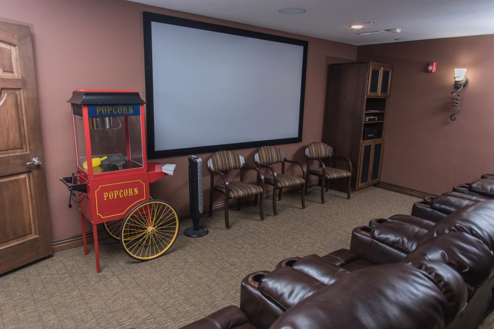In-house movie theater at Villas of Holly Brook Effingham in Effingham, Illinois
