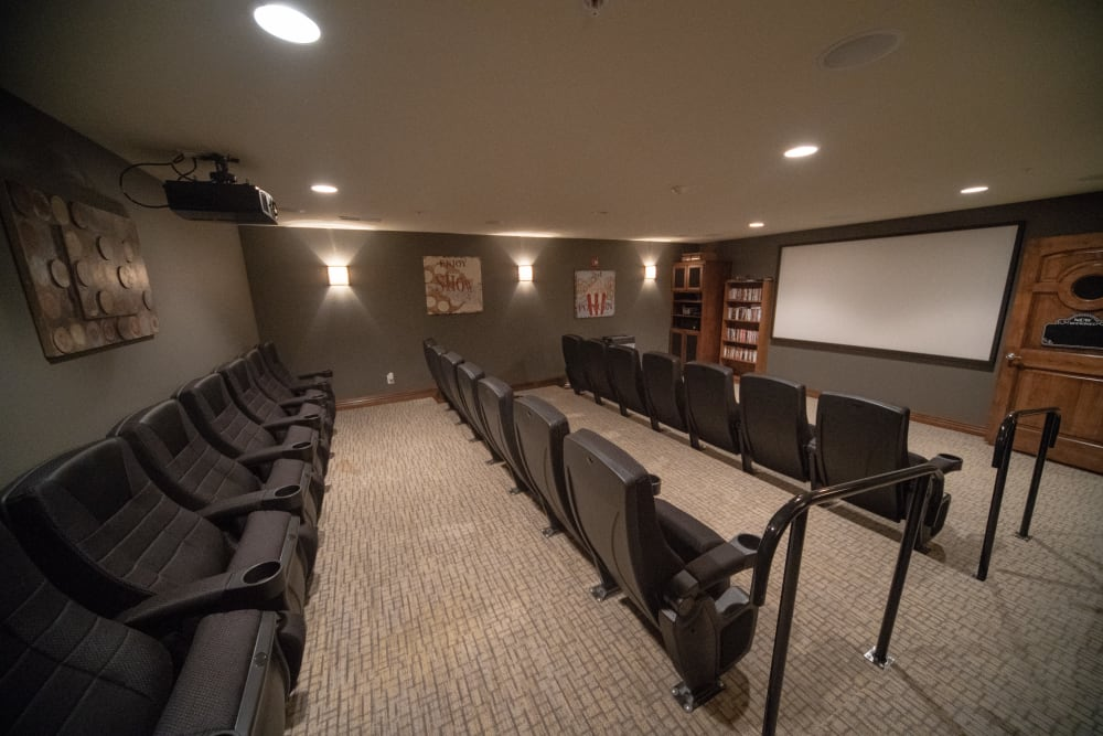 In house movie theater at Villas of Holly Brook Herrin in Carterville, Illinois