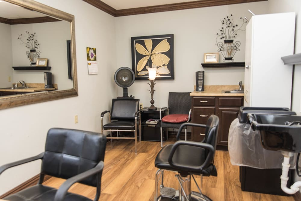 Hair salon onsite at Villas of Holly Brook Marshall in Marshall, Illinois
