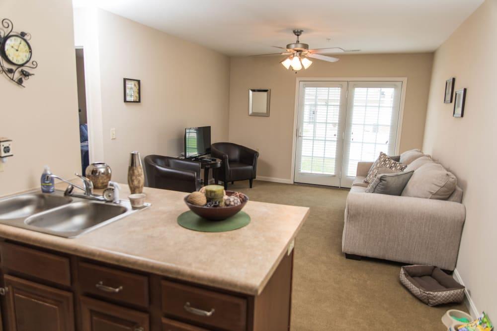 1 bedroom apartment living room at Villas of Holly Brook Marshall in Marshall, Illinois
