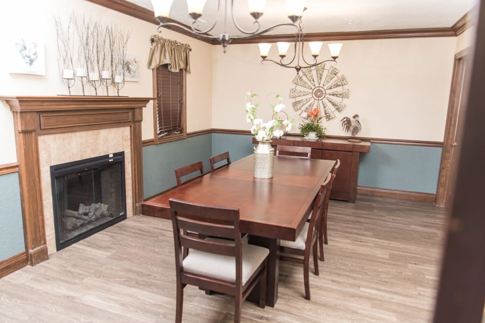 Private family dining room at Villas of Holly Brook Marshall in Marshall, Illinois