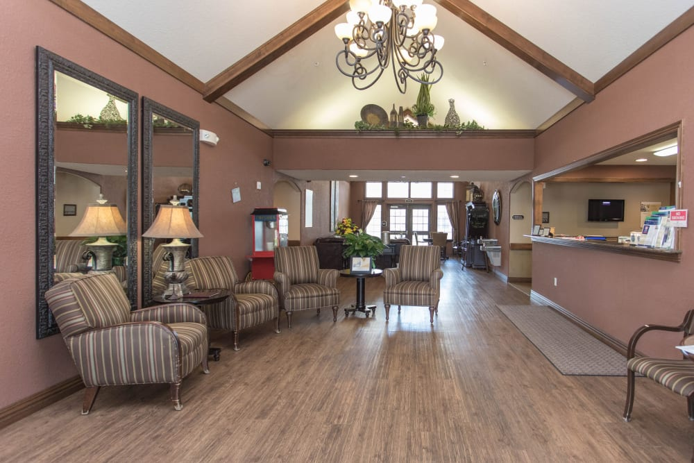 Main hall with access to seating and reception at Villas of Holly Brook Newton in Newton, Illinois