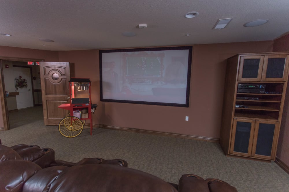 In house movie theater at Villas of Holly Brook Shelbyville in Shelbyville, Illinois