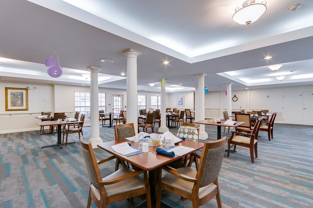 Carpeted dining hall at Brentwood at Hobart in Hobart, Indiana