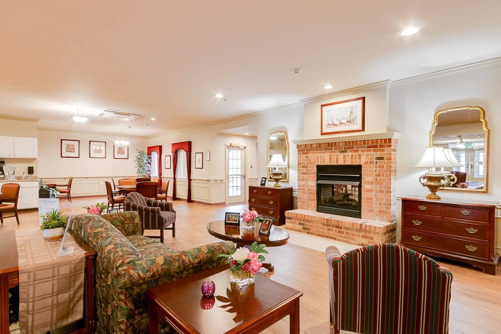 Common area with fireplace at Brentwood at Hobart in Hobart, Indiana