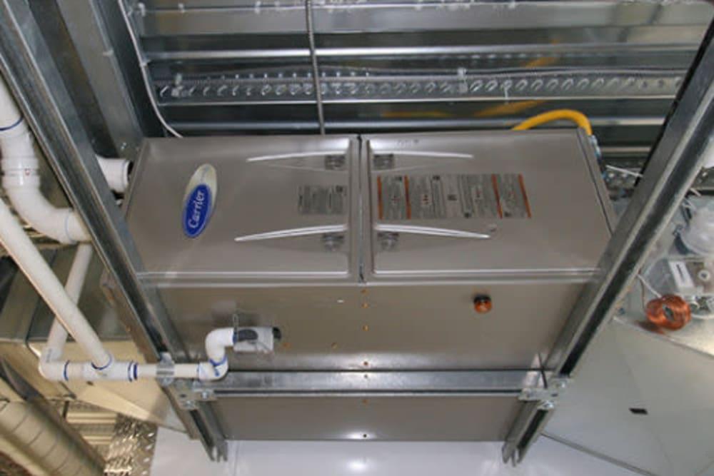 Ceiling mounted high efficiency furnaces at Ballinger Heated Storage in Shoreline, Washington