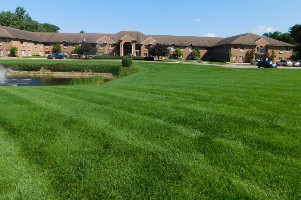 Green grass outside Brentwood at Elkhart in Elkhart, Indiana