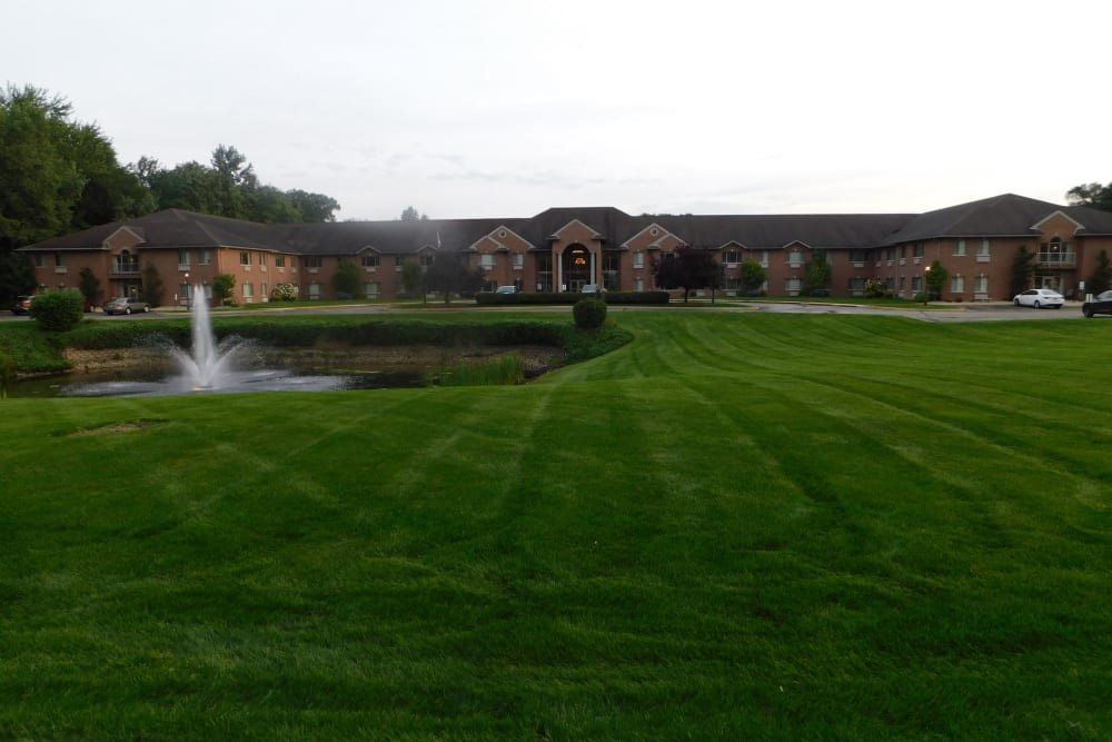 Green lawn at dusk at Brentwood at Elkhart in Elkhart, Indiana