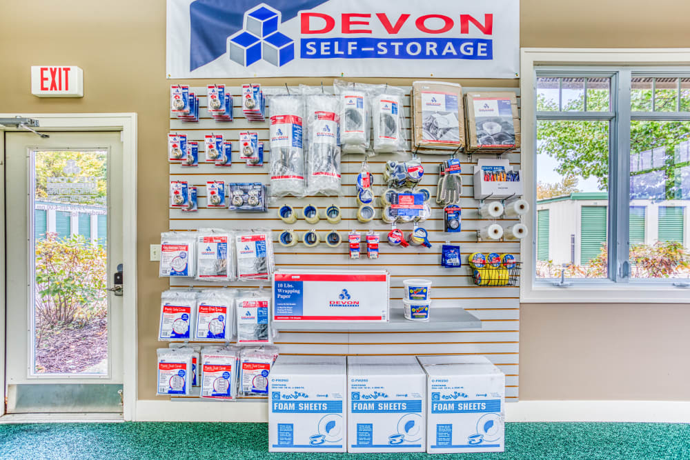Various packing supplies at Devon Self Storage in Holland, Michigan