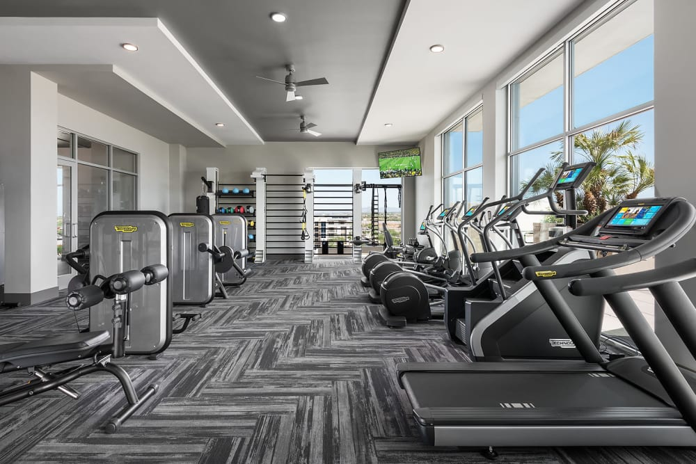 Onsite fitness center at The Halsten at Chauncey Lane in Scottsdale, Arizona