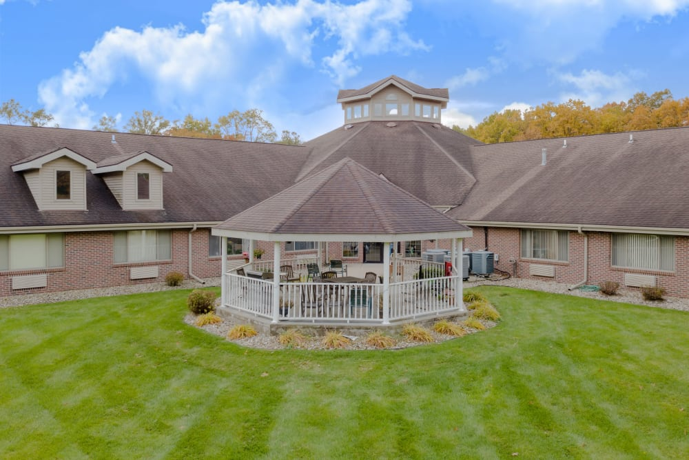 Aerial view of gazebo and courtyard at Eastlake Terrace in Elkhart, Indiana