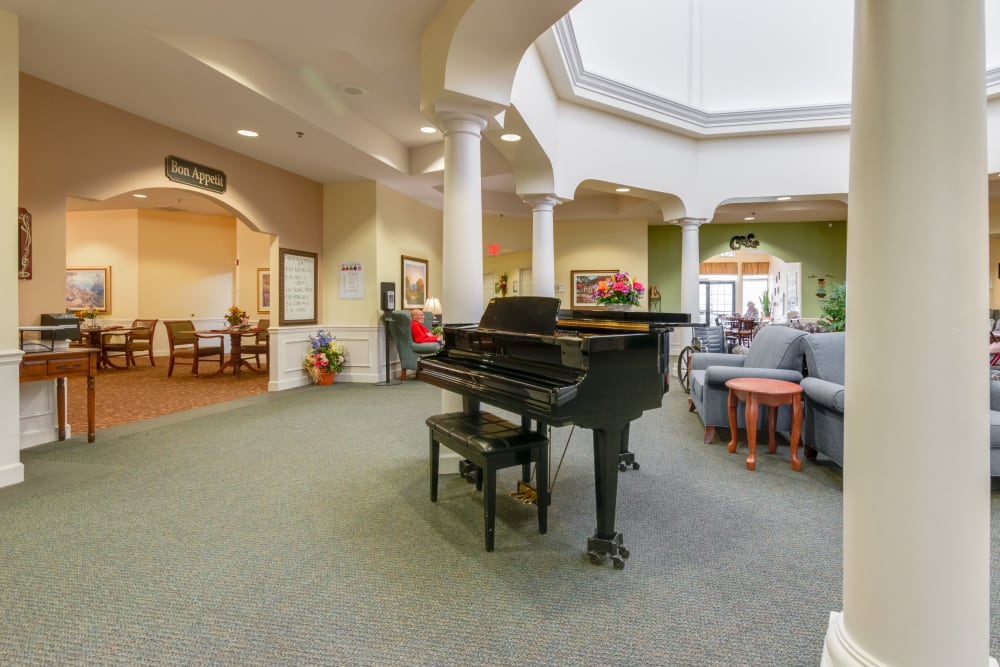 Piano in lobby at Eastlake Terrace in Elkhart, Indiana