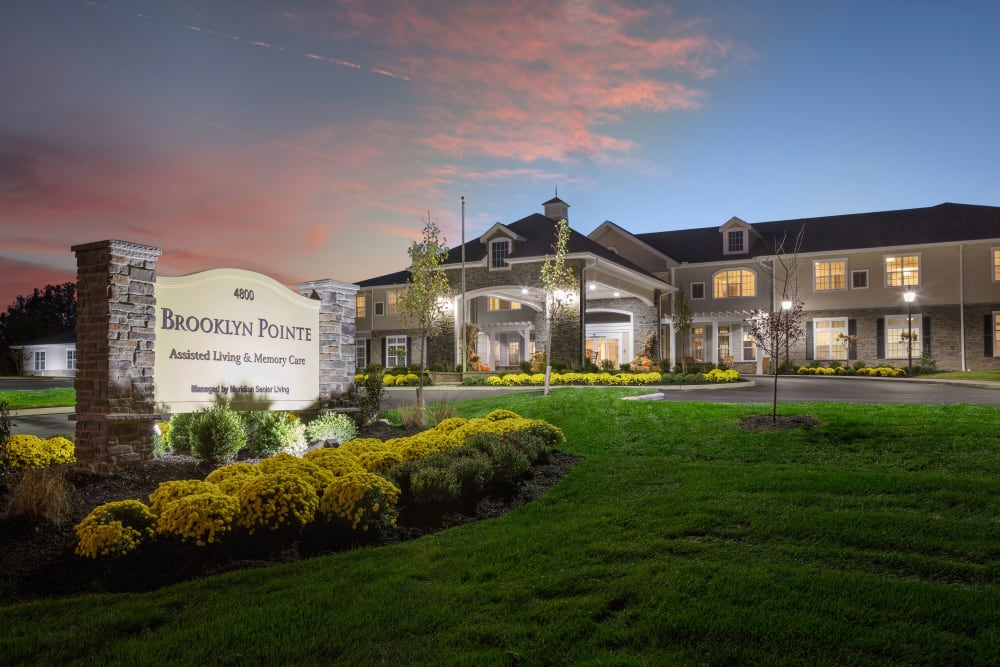 Front sign at sunset at Brooklyn Pointe in Brooklyn, Ohio