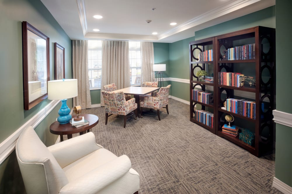 A reading room at Brooklyn Pointe in Brooklyn, Ohio