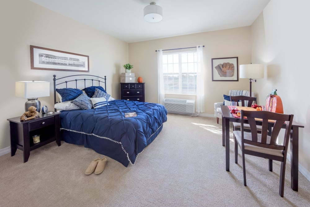 Bedroom model at Brooklyn Pointe in Brooklyn, Ohio