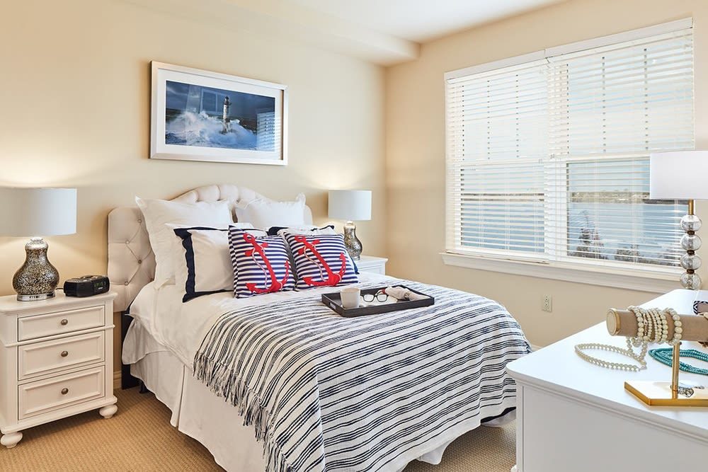 A comfortable, assisted living spacious bedroom at Azpira at Windermere in Windermere, Florida