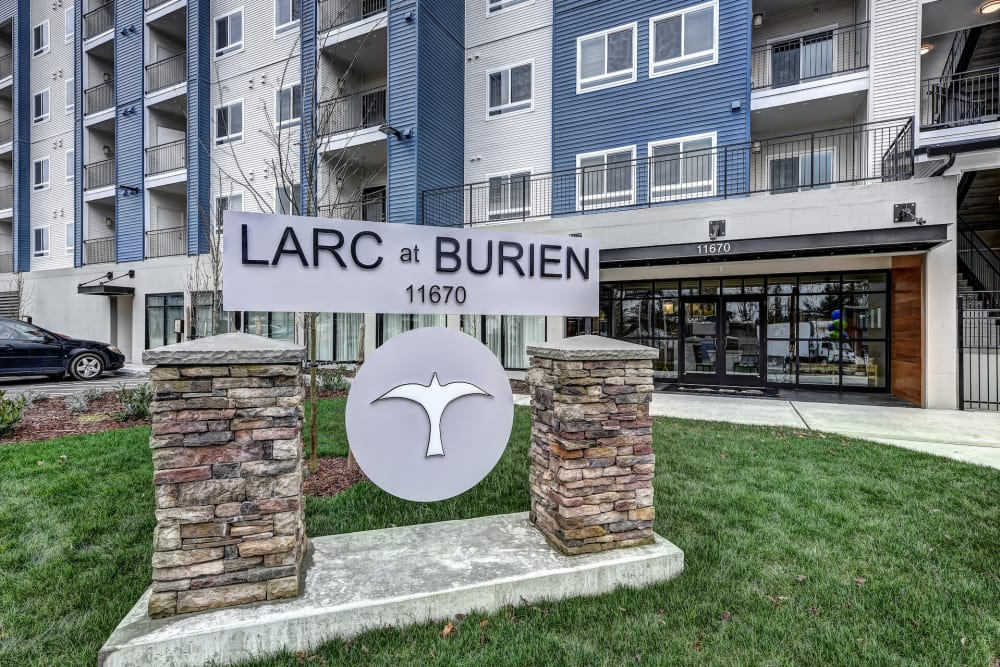 Welcome sign at LARC at Burien in Burien, WA