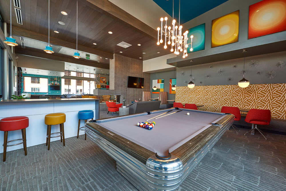 Billiards table in Encore Evans Station's clubhouse in Denver, Colorado
