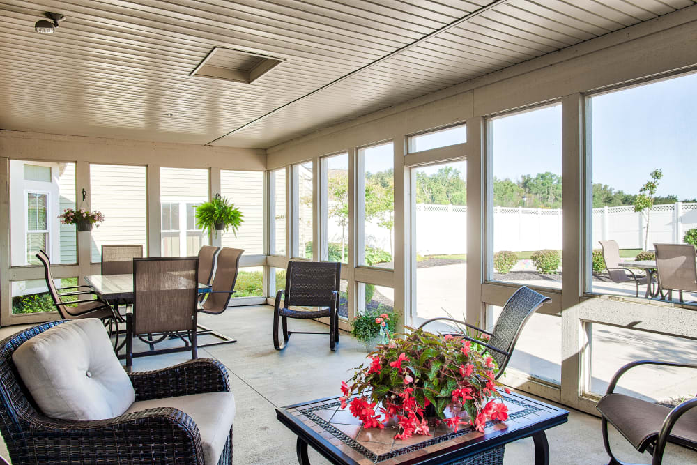 Back porch area at Landings of Sidney in Sidney, Ohio