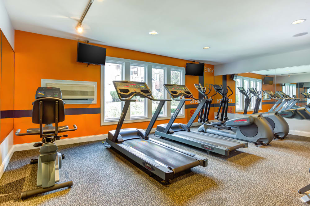 The fitness center with treadmills at Lakeside Apartments in Wheaton, Illinois