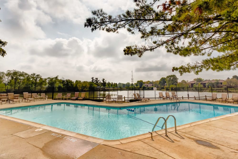 A large pool at Lakeside Apartments in Wheaton, Illinois