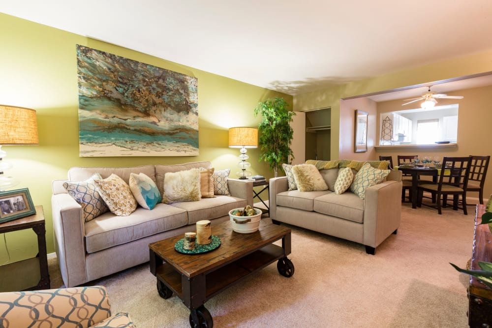 Bright living room at Harbor Village Apartments in Richmond, Virginia
