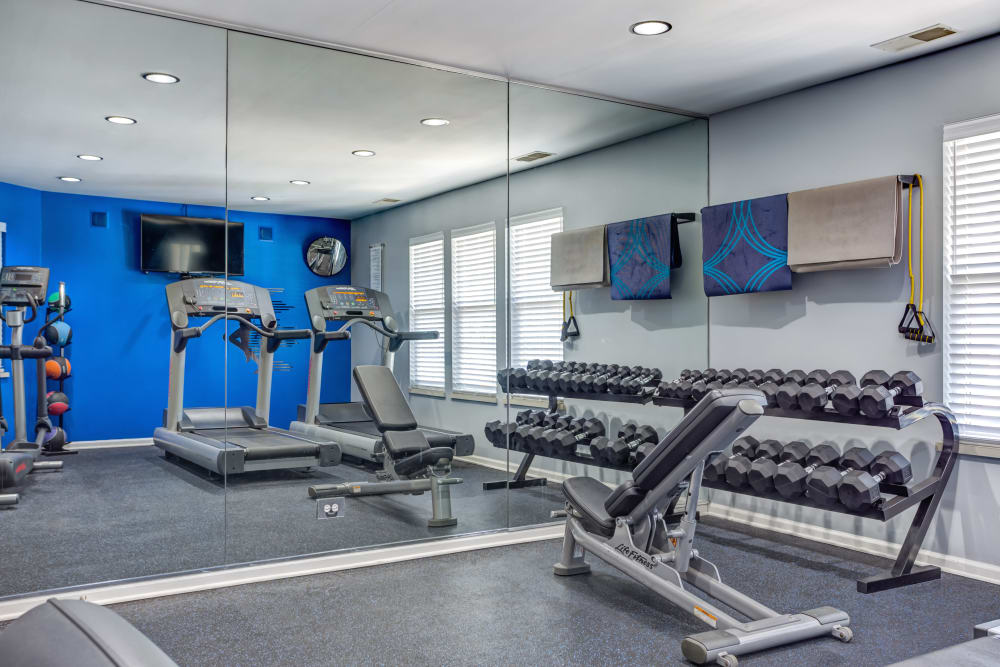 The fitness center at Lakeview Townhomes at Fox Valley in Aurora, Illinois
